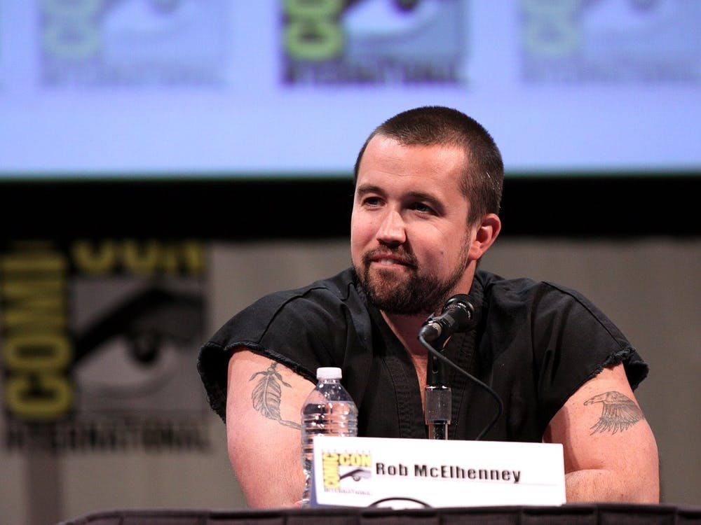 """Mythic Quest"" star and producer Rob McElhenney speaking at a Comic Con panel."