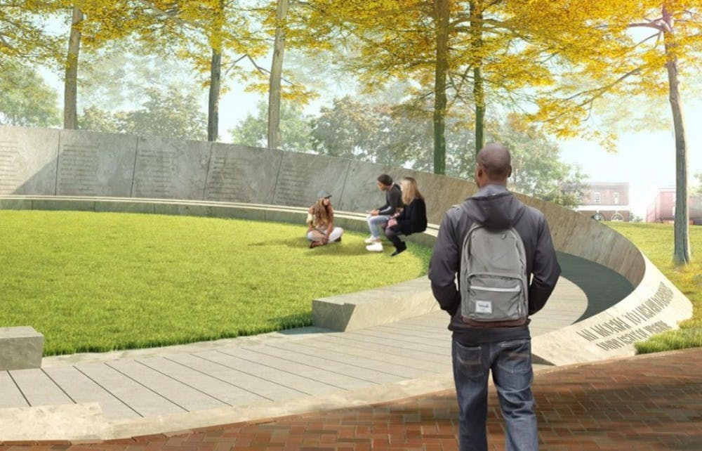 <p>Designed to memorialize the thousands of individuals who built and maintained the University, the Memorial to Enslaved Laborers will sit near Brooks Hall.&nbsp;</p>