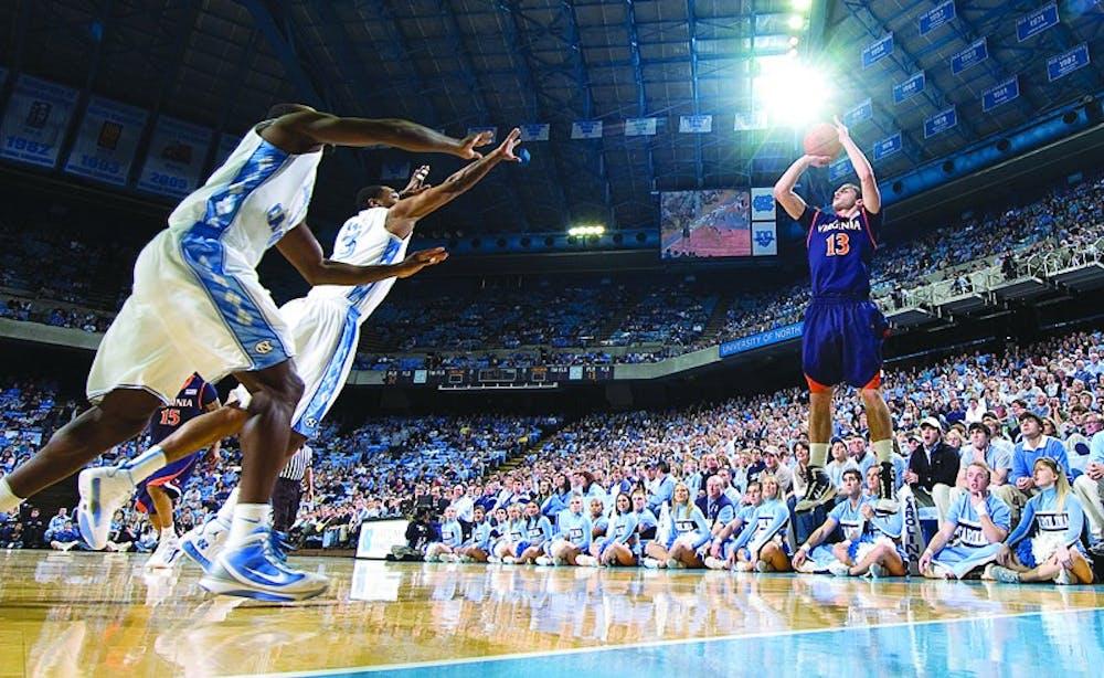 Virginia's Sammy Zeglinski puts up a three-point shot.University of North Carolina v Virginia Men's BasketballFirst HalfDean E. Smith CenterChapel Hill, NCSunday, January 31, 2009