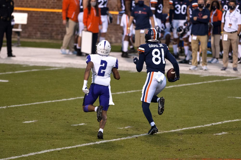 <p>Freshman wide receiver Lavel Davis Jr. will be a crucial aerial target for sophomore quarterback Brennan Armstrong, who has seen lots of success throwing long balls to the South Carolina native.&nbsp;</p>