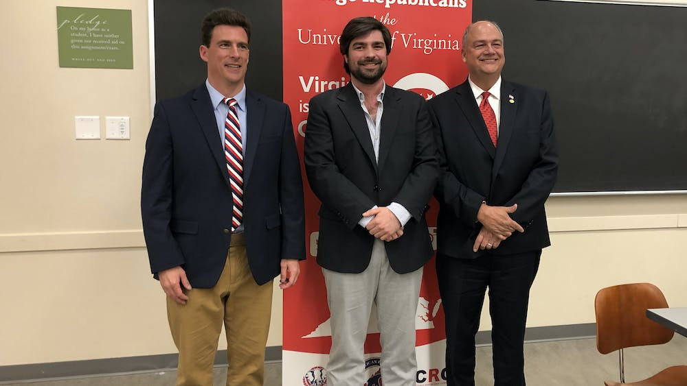 The three 25th House of Delegates Republican Primary candidates — (from left to right) Marshall Pattie, Richard Fox and Chris Runion — appeared on Grounds April 9 for a debate sponsored by the College Republicans at U.Va. and the Albemarle County Republican Committee.