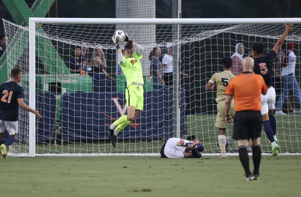 <p>Sophomore goalkeeper Holden Brown gave up two goals against the Fighting Irish and currently averages 1.32 goals allowed per match as the only goalkeeper who has taken the net for the Cavaliers.&nbsp;</p>