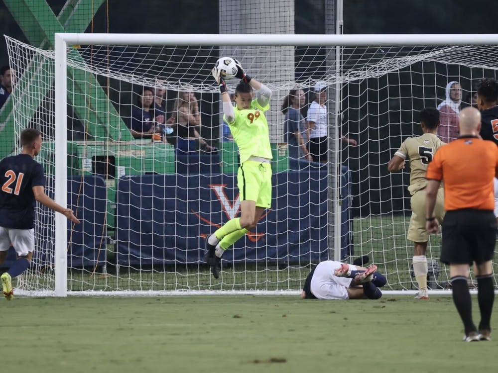Sophomore goalkeeper Holden Brown gave up two goals against the Fighting Irish and currently averages 1.32 goals allowed per match as the only goalkeeper who has taken the net for the Cavaliers.