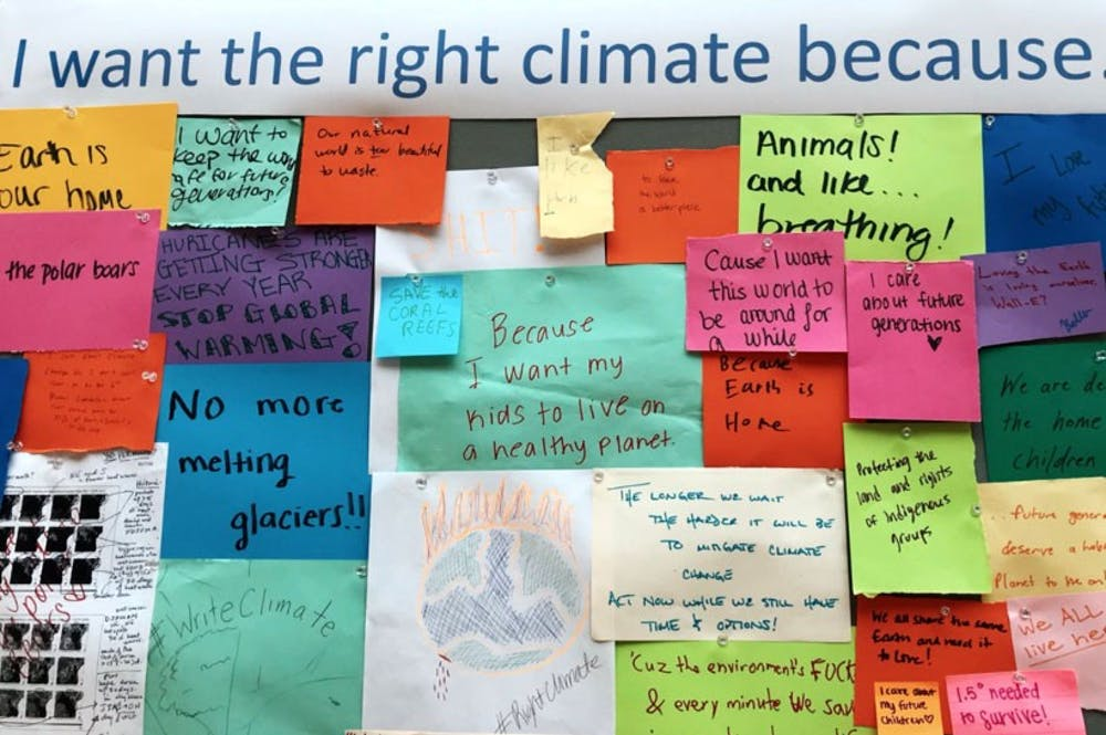 <p>Various voices from the U.Va. community on climate change were displayed in the Write Climate exhibition.</p>