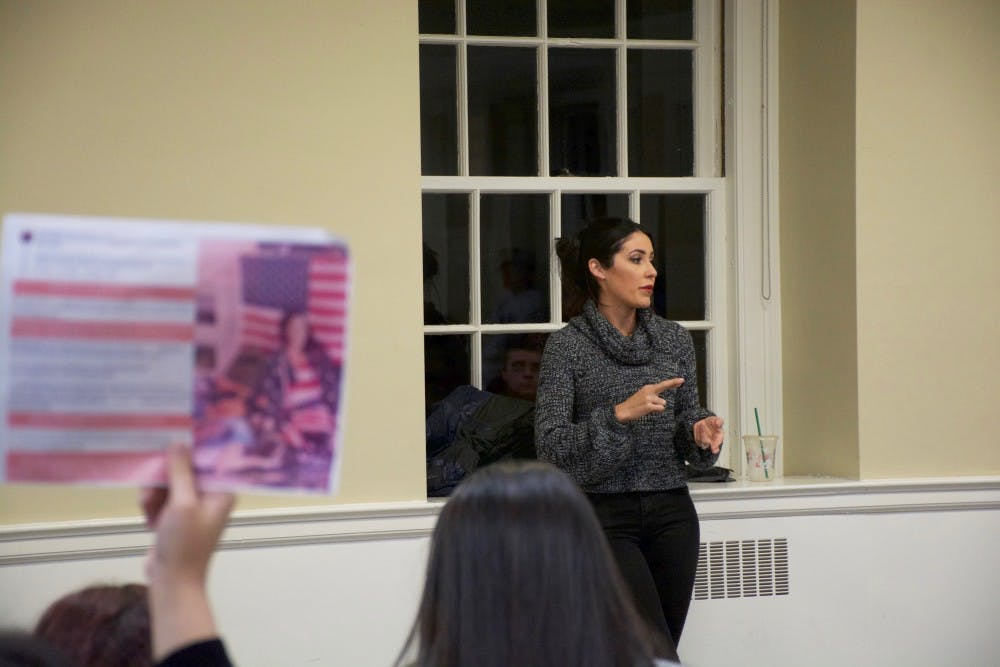 Paulina spoke in detail to the 40-person audience — more than half student protesters — about how a past home burglary incident convinced her to apply for a conceal carry permit.