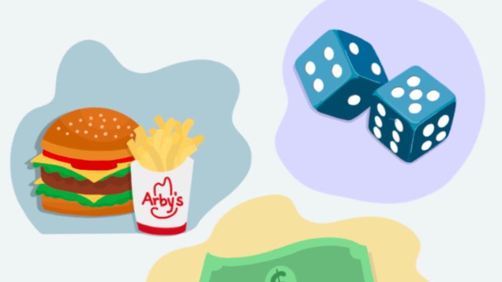 Arby's burger and fries, dice cubes, $5 bill