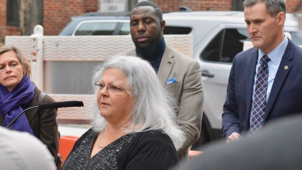 Susan Bro, Heather Heyer's mother, spoke at the dedication ceremony Wednesday morning. Charlottesville City Councilor Kathy Galvin, Vice Mayor Wes Bellamy and Mayor Mike Signer are pictured behind her from left to right.