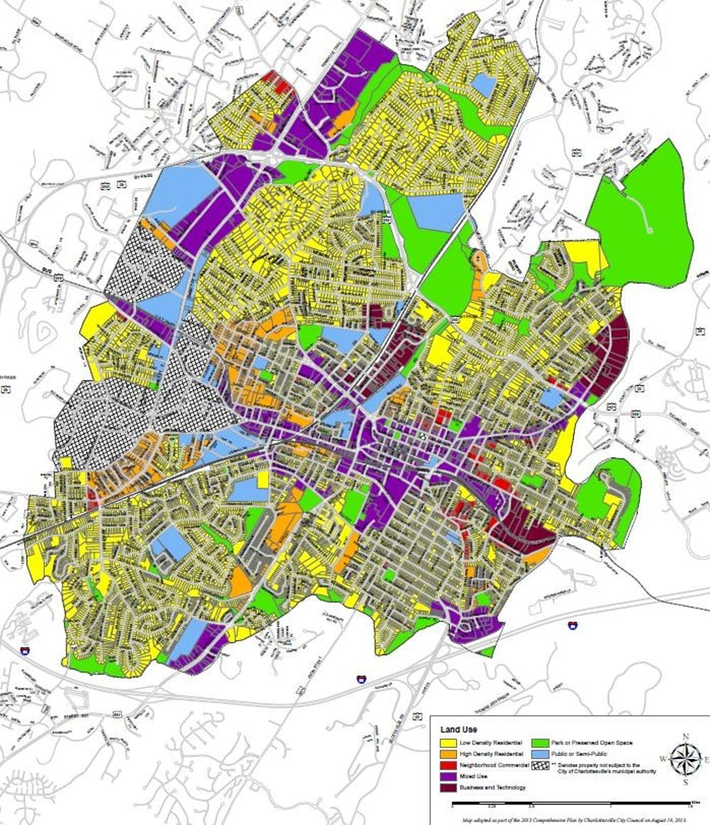 <p>A land use map of the City of Charlottesville from the 2013 comprehensive plan showing the different areas of proposed development types in the City.&nbsp;</p>