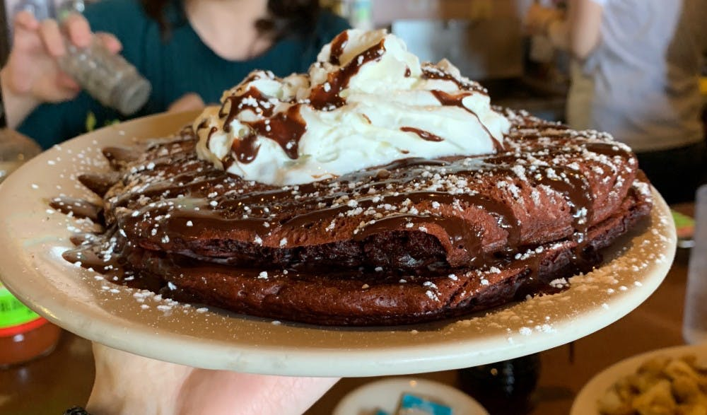 <p>Bluegrass Grill &amp; Bakery has red velvet pancakes topped with cherry cream cheese and chocolate syrup for their February specials — perfect for your Galentine's Day.&nbsp;</p>