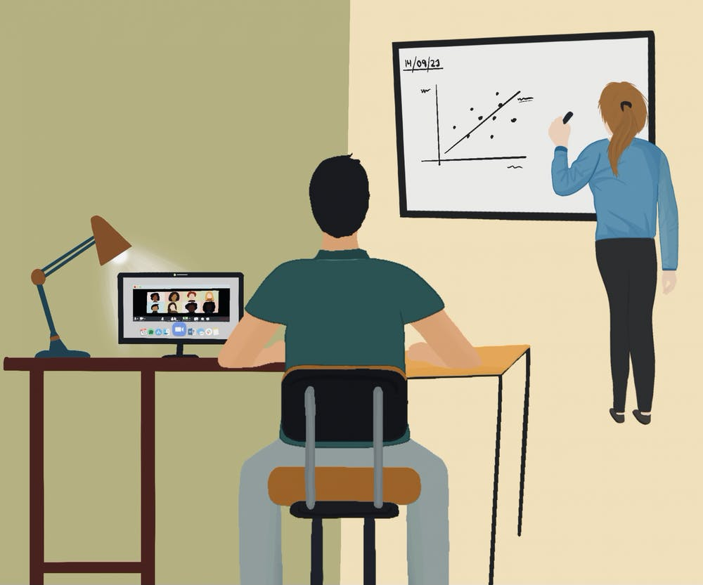 """<p>David Edmunds, a professor in the Global Development Studies department, said his """"Global Development, Theories and Case Studies Part II"""" course has a ratio of about one student attending class in person for every two students connecting via Zoom.&nbsp;</p>"""