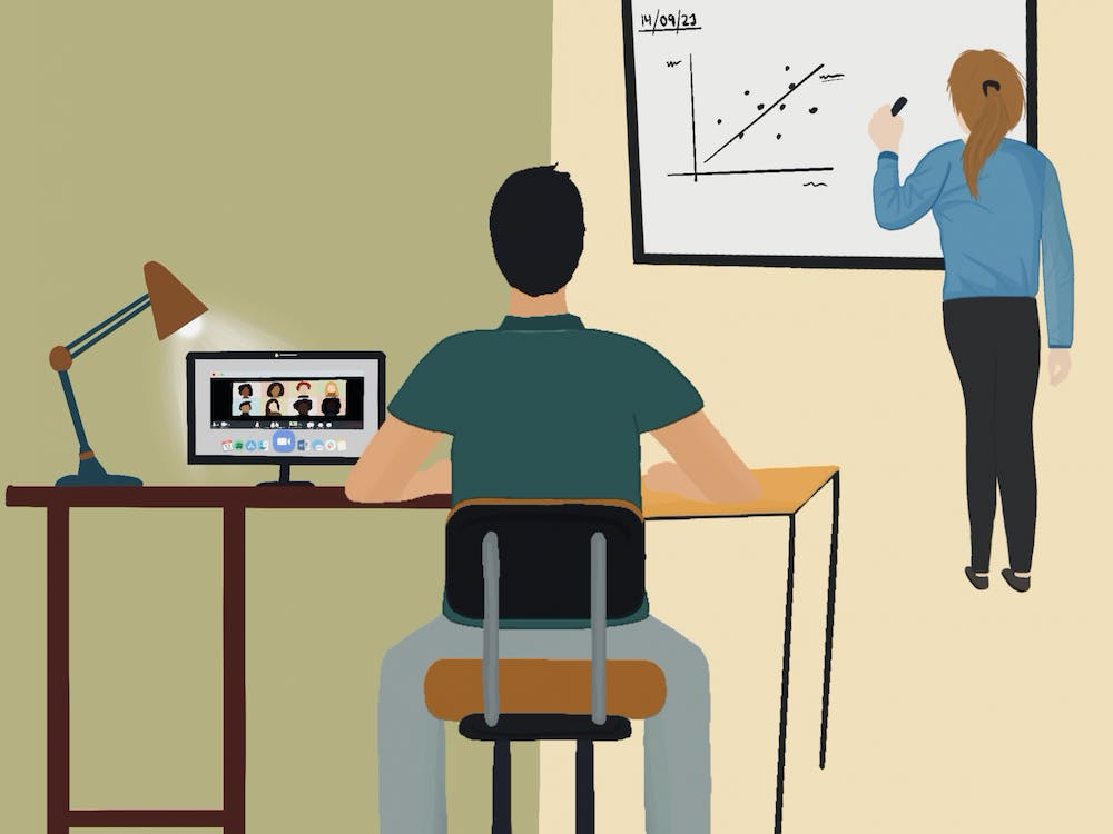 "David Edmunds, a professor in the Global Development Studies department, said his ""Global Development, Theories and Case Studies Part II"" course has a ratio of about one student attending class in person for every two students connecting via Zoom."