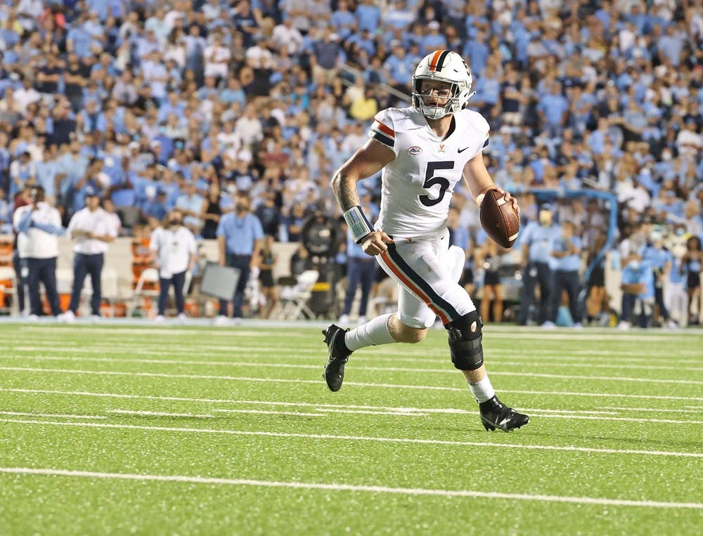 <p>Virginia junior quarterback Brennan Armstrong set a school record against North Carolina with over 550 passing yards.</p>