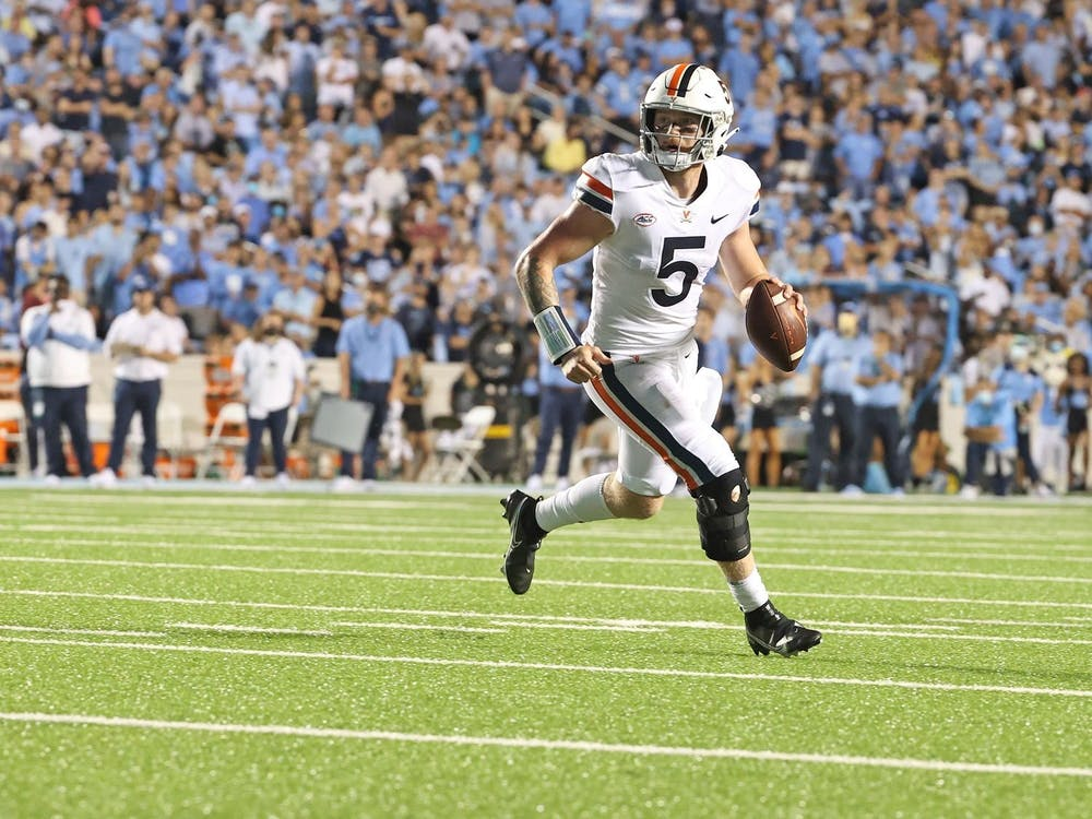 Virginia junior quarterback Brennan Armstrong set a school record against North Carolina with over 550 passing yards.
