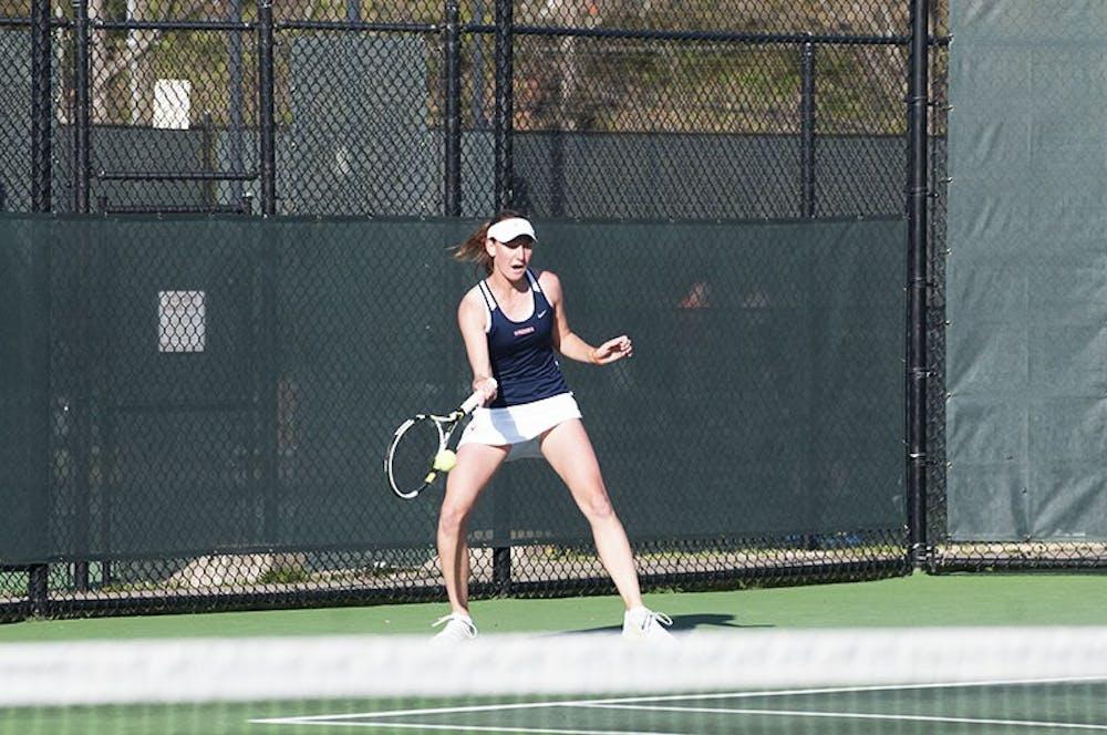 <p>Sophomore Stephanie Nauta is 12-1 in singles play this season. </p>