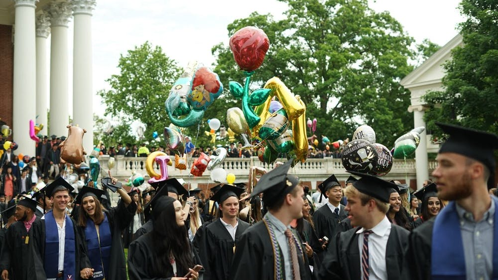 During Final Exercises, the graduating classes lines up around the Rotunda for a procession down the Lawn.