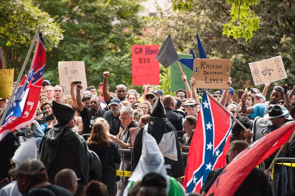 <p>About 1,000 protesters showed up to counter the KKK, 22 of whom were arrested.</p>