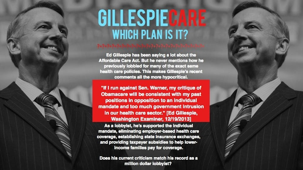 Democrats launched the site GillespieCare, above, on Thursday. Republican Senate Candidate Ed Gillespie's campaign dismissed the attacks as full of misinformation.