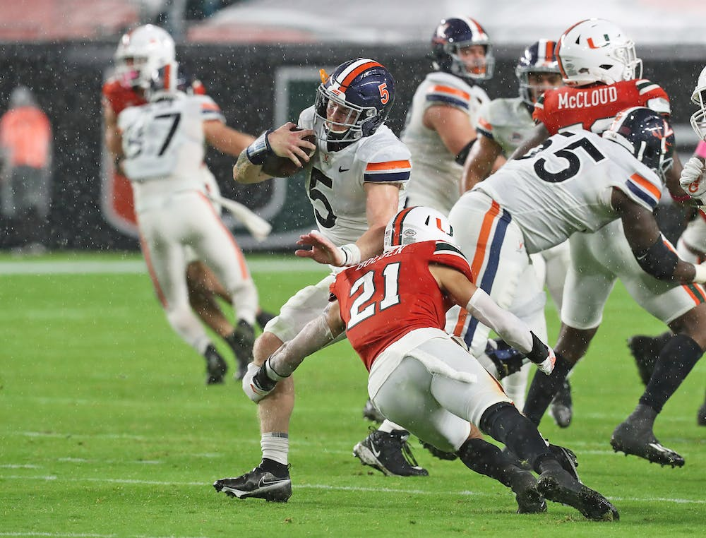 <p>Sophomore quarterback Brennan Armstrong had a quick start to the game, leading Virginia on a 64-yard touchdown drive, but faltered late under slippery conditions.&nbsp;</p>