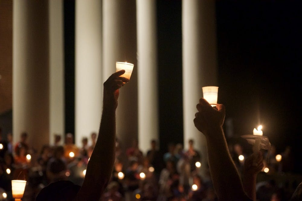 <p>Following the white supremacist rallies of Aug.11 and 12, thousands of students, faculty, alumni and Charlottesville residents gathered for a peaceful march and candlelit vigil on the Lawn to promote love and inclusion in response to the hatred displayed at the demonstrations.&nbsp;</p>