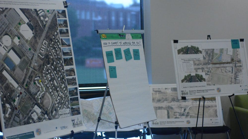 Community members gathered in Lambeth Commons Monday afternoon to discuss the proposed Emmet-Ivy corridor changes.