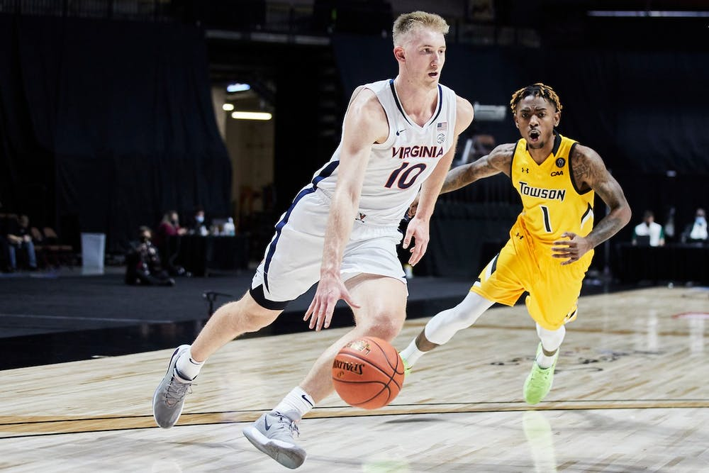 <p>Senior forward Sam Hauser looked as good as advertised in the Cavaliers' season-opener, finishing with 19 points and eight rebounds</p>