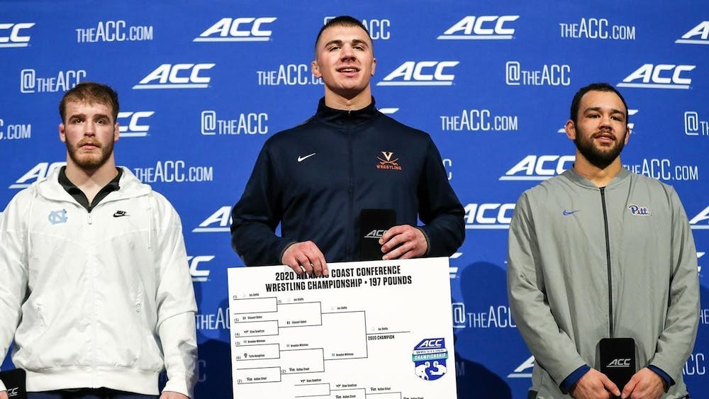 <p>Junior Jay Aiello became Virginia's first ACC champion in the 197-pound weight class since 2009.</p>