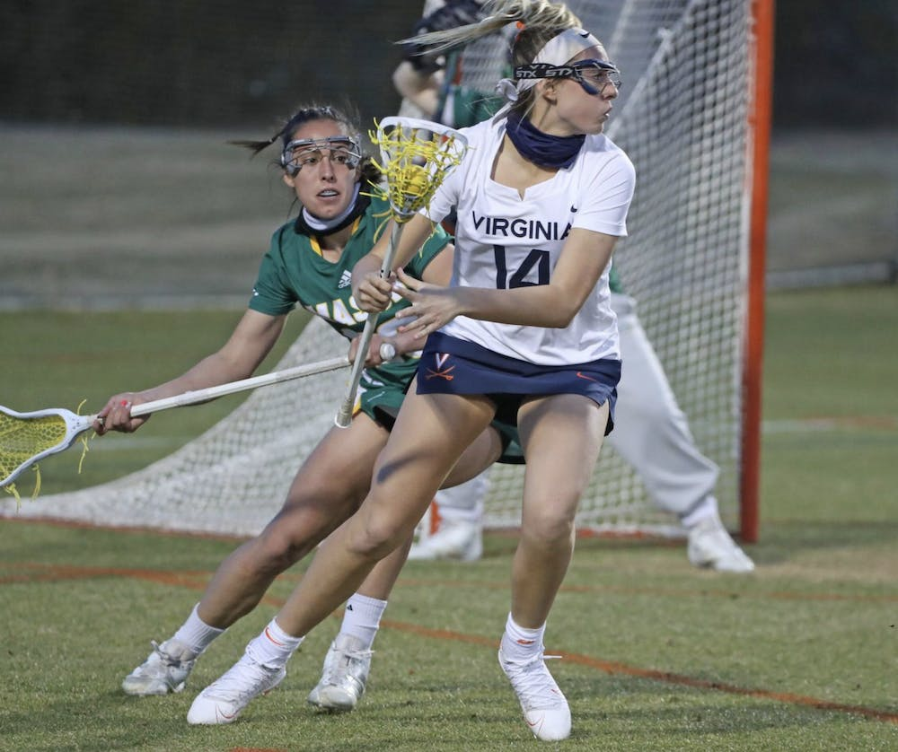 <p>In the first half, the Cavaliers went on a game-deciding 8-1 scoring run, with freshman attack Morgan Schwab scoring two —&nbsp;her third and fourth goals of the season.</p>