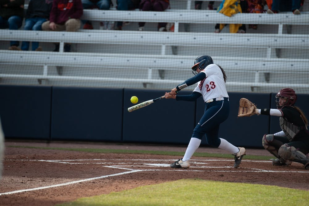 <p>Sophomore catcher and infielder Donna Friedman got on base in the Cavaliers' first game against the Hokies.</p>