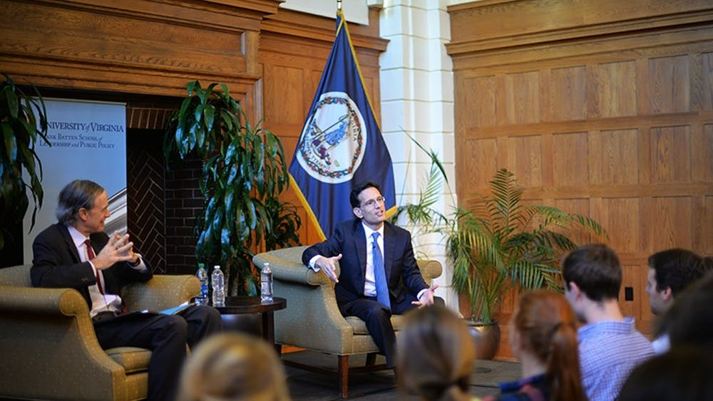 Eric Cantor (right) stepped down as majority leader in what many political analysts describe as a stunning primary defeat in Virginia's 7th District against Dave Brat in August 2014.