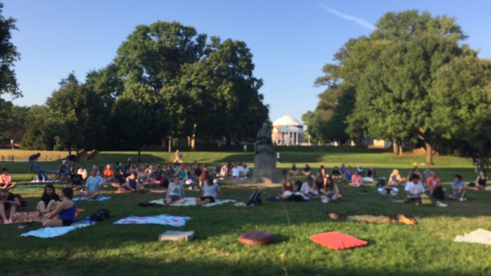 At 6 p.m., participants arrived at the University's first-ever Meditation on the Lawn, ready to become peacefully-centered for one hour of their day.