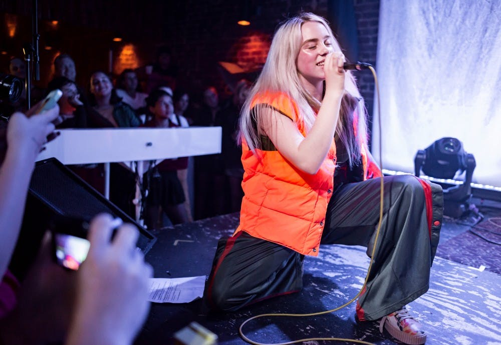 <p>Billie Eilish performs at The Hi Hat in Los Angeles in Aug. 2017.&nbsp;</p>