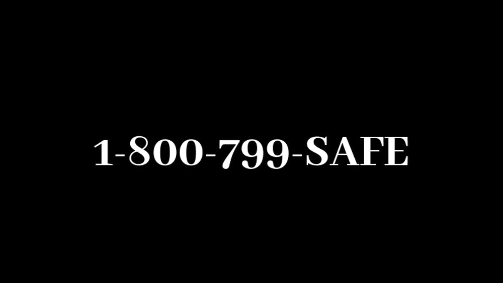 In a moment emblematic of respect for abuse victims, the docuseries shows the National Domestic Violence Hotline, bold in simple white on a black background.