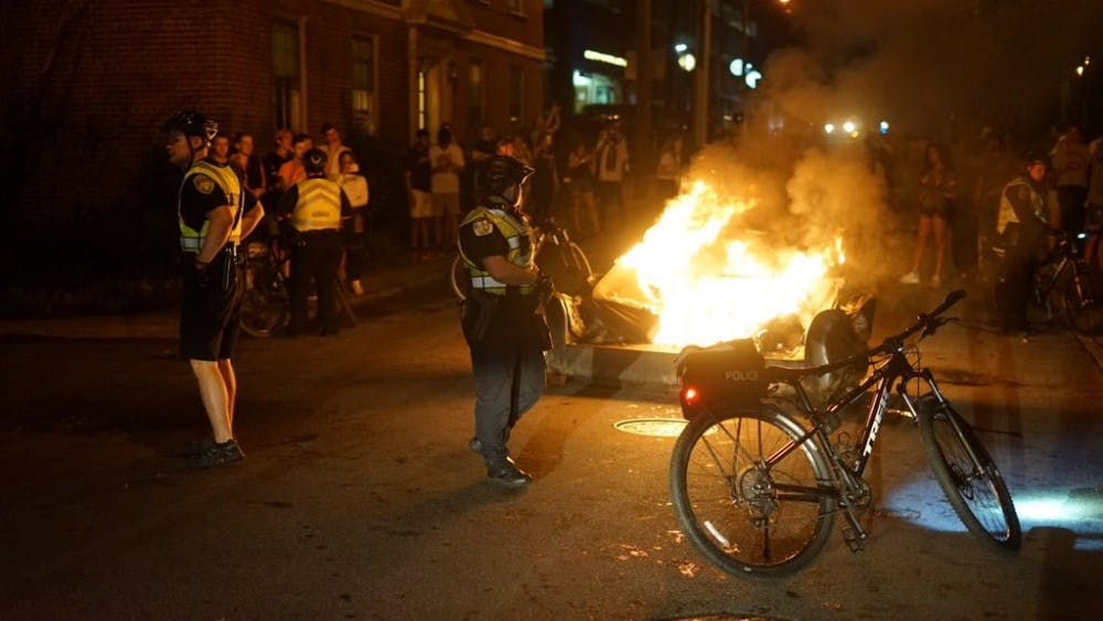 The Charlottesville Fire Department responded to several instances of burning couches following Virginia's championship win Monday night.