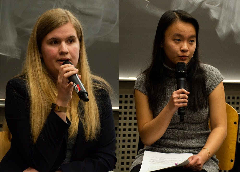 <p>Student Council presidential candidates Ellie Brasacchio (left) and Arabella Lee (right).</p>