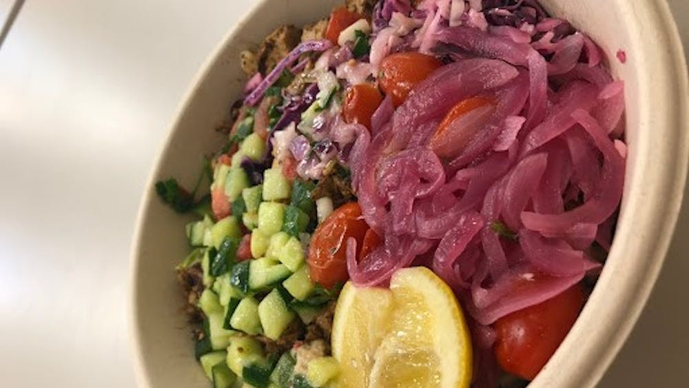 My typical Cava order includes half super greens, half splendid greens, eggplant and red pepper dip, roasted red pepper hummus, grilled chicken, cabbage slaw, tomato & onion, diced cucumber, tomato & cucumber, pickled onions, lemon wedge and lemon herb tahini.
