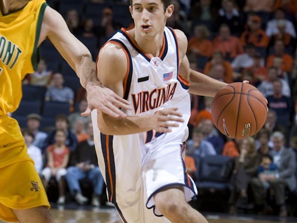 Virginia Cavaliers G Sammy Zeglinski (13)..The Virginia Cavaliers men's basketball team defeated the Vermont Catamounts 90-72 at the John Paul Jones Arena in Charlottesville, VA on November 11, 2007.