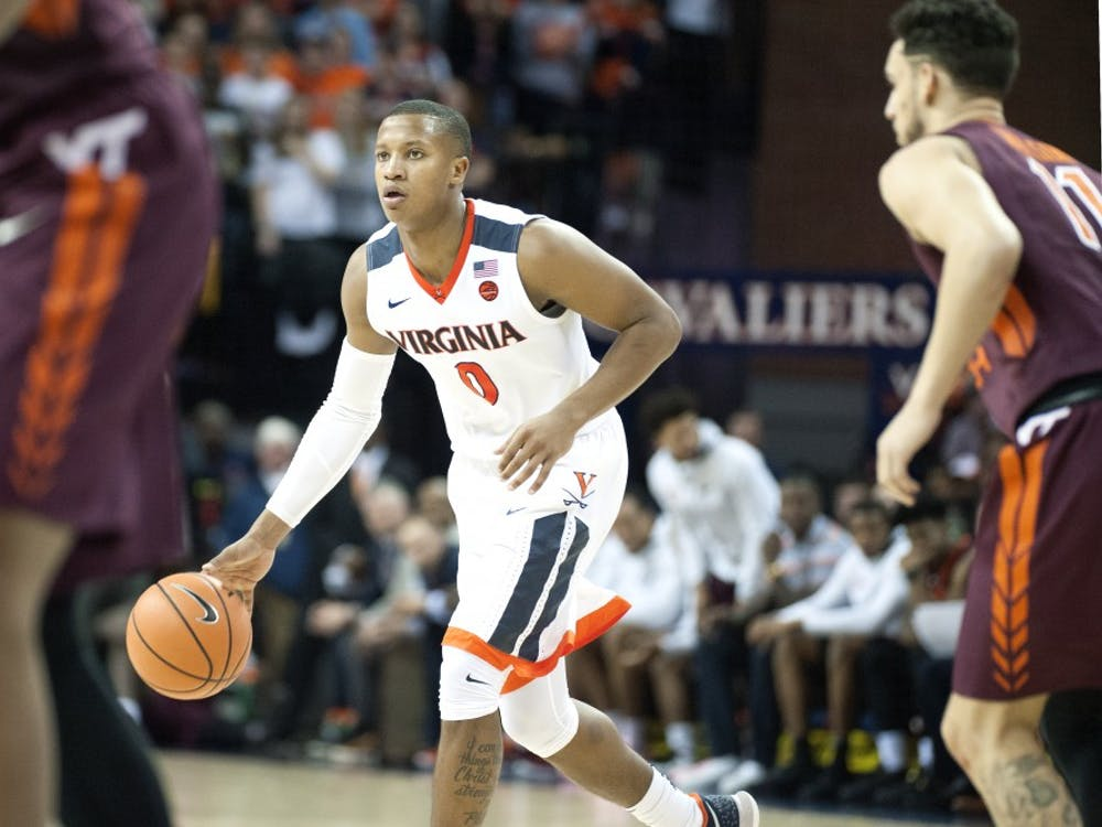 Virginia senior guard Devon Hall will try to help his team get back on track against Miami Tuesday night.