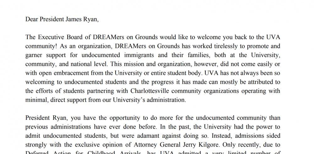 <p>DREAMers on Grounds sent the letter on Nov. 19.&nbsp;</p>