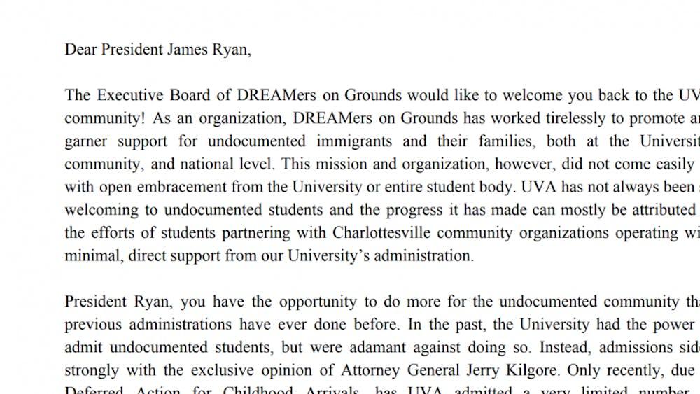 DREAMers on Grounds sent the letter on Nov. 19.