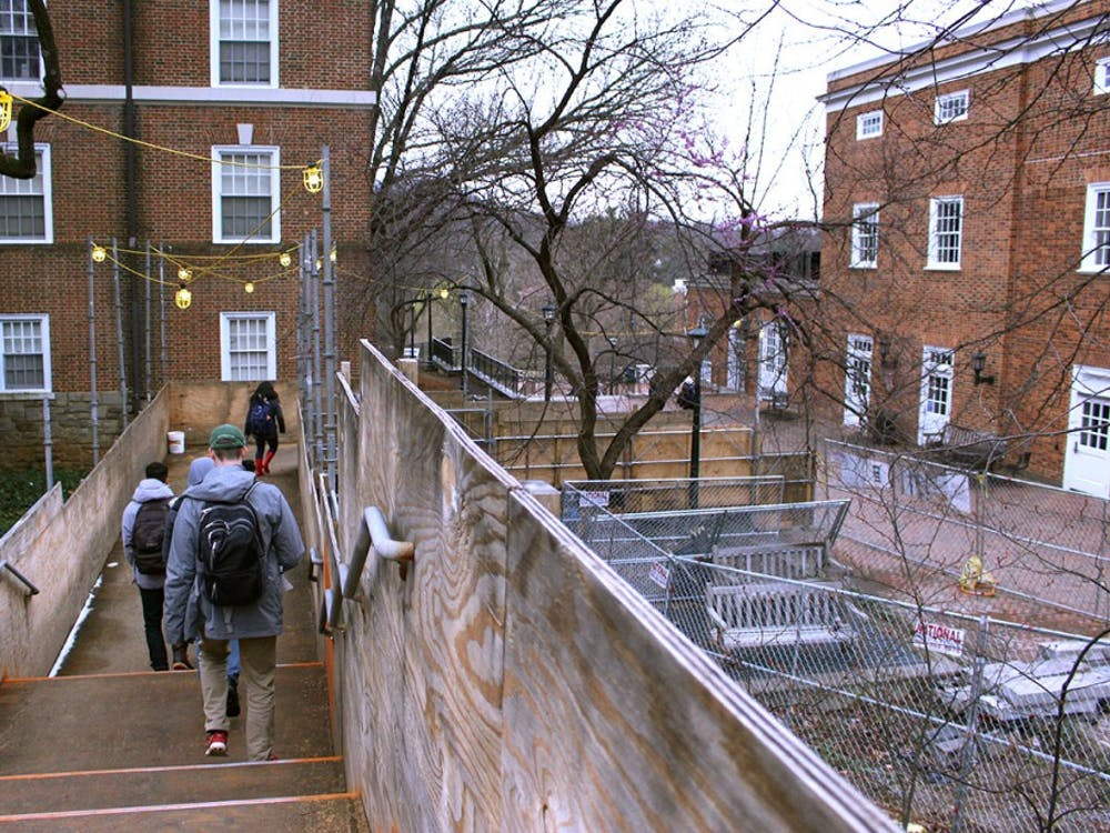 A temporary staircase between Newcomb Hall and Brown College opened in October 2017.