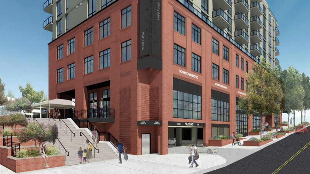 A rendering of the West2nd development on how it would have looked from the intersection of Water Street and 1st Street.