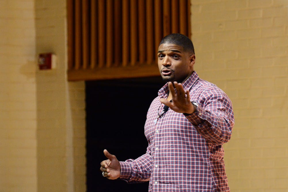 <p>Michael Sam, the first openly-gay NFL player, spoke in McLeod Hall about his personal and professional experiences.</p>