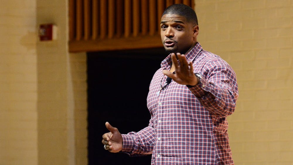 Michael Sam, the first openly-gay NFL player, spoke in McLeod Hall about his personal and professional experiences.