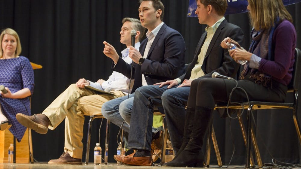 Four qualified candidates (right to left), Leslie Cockburn, Ben Cullop, R.D. Huffstetler, and Andrew Sneathern, are currently vying for the Democratic nomination for the 5th Congressional District election.