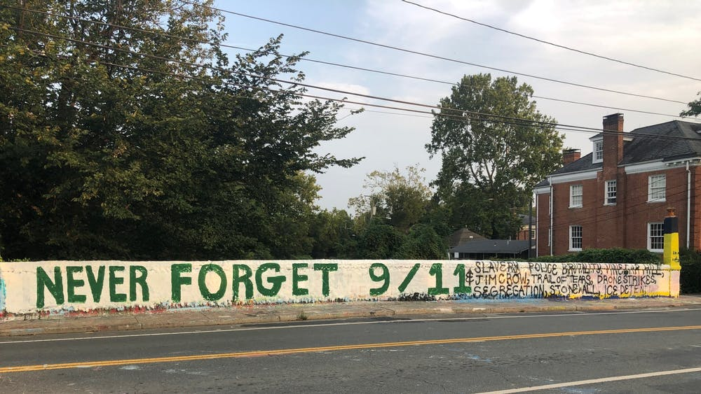 The first message was painted on Sep. 11 of this year, and the second one was painted soon after as a direct response.