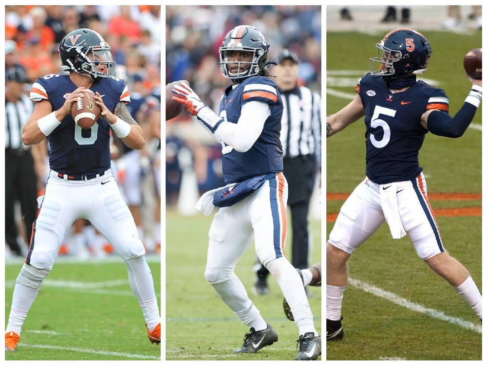 <p>Over the last five seasons, just three players have held the title of Virginia football's first-choice quarterback — Kurt Benkert (left), Bryce Perkins (middle) and Brennan Armstrong (right).</p>