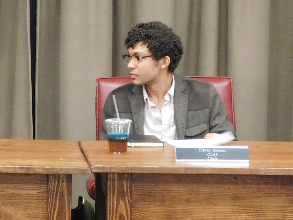 <p>The meeting concluded with a 18-5 vote in favor of implementing the reform to the Informed Retraction process. Pictured: fourth-year College student and Honor Committee Chair Devin Rossin.&nbsp;</p>