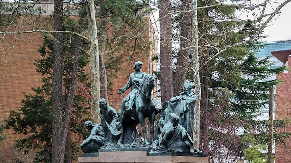 U.Va. has the power to make decisions regarding the George Rogers Clark statue because it is located on University grounds.