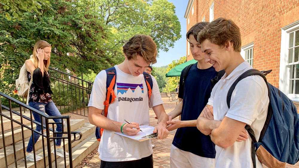 Members of UDems registered students to vote outside of Newcomb Tuesday.