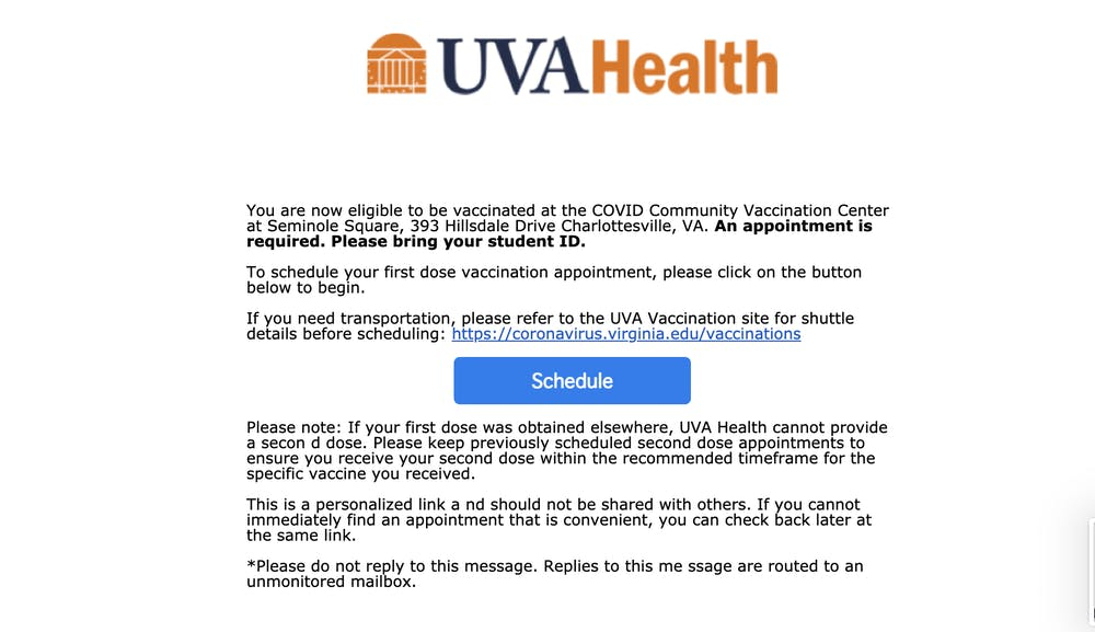 <p>U.Va. Health began to send University students appointment invitations Monday.</p>